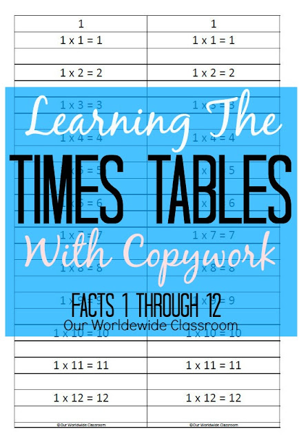 Times Tables With Copywork