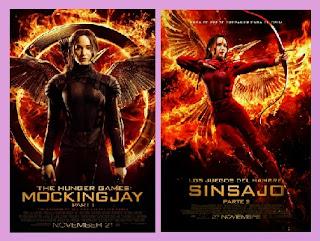 portadas de la película Sinsajo Parte 1 y 2