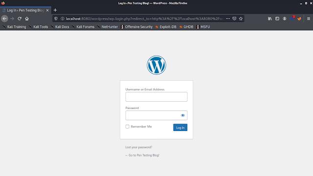 WordPress on Kali Linux admin panel