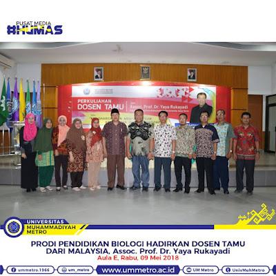 Perkuliahan Dosen Tamu oleh Assoc. Prof. Dr. Yaya Rukayadi di Pendidikan Biologi Universitas Muhammadiyah Metro