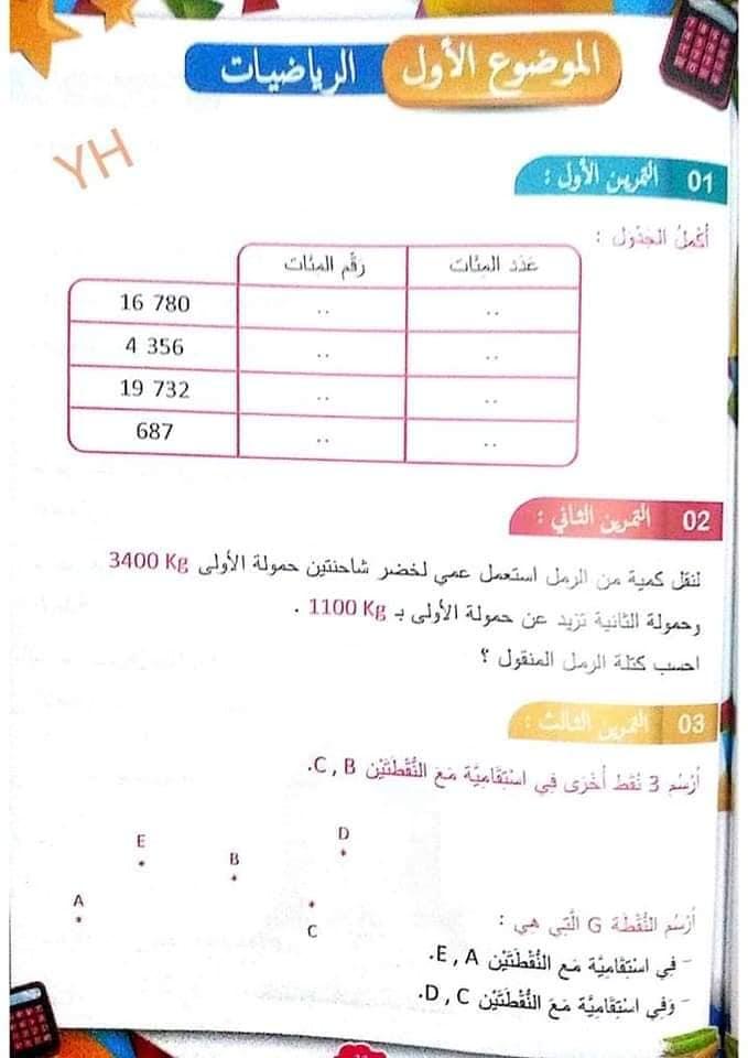 اختبارات الفصل الاول في مادة الرياضيات مع الحلول السنة الرابعة ابتدائي الجيل الثاني