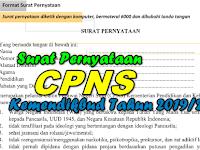 Surat Pernyataan CPNS Kemendikbud Tahun 2019/2020