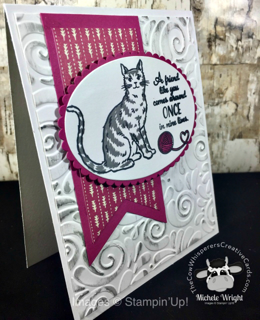 Nine Lives, Card, Swirls & Curls Embossing Folder, Cat