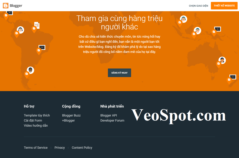 Template blogspot giống Blogger tại mục Footer