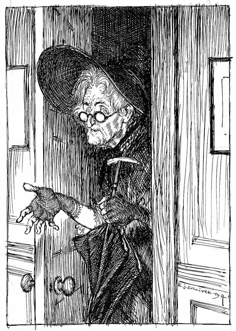 an Edmund J. Sullivan 1914 illustration of a senior woman with umbrella leaving her door in bad weather, testing for rain with her hand