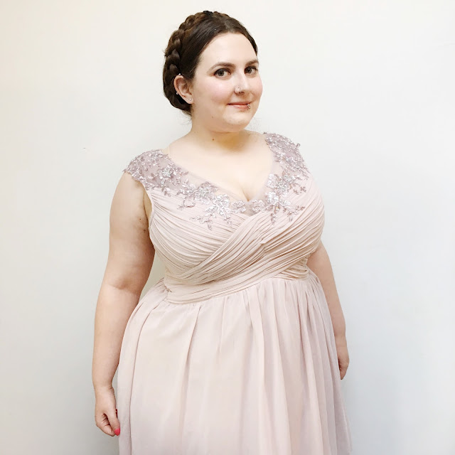 Plus size pink prom party dress