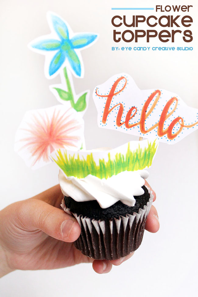 spring, flowers, cupcake toppers, hand lettering, free download, freebie