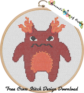 furry red rage monster cross stitch pattern to download free