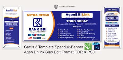 Gratis 3 Template Spanduk - Banner Agen BRILink Siap Edit Format CorelDraw