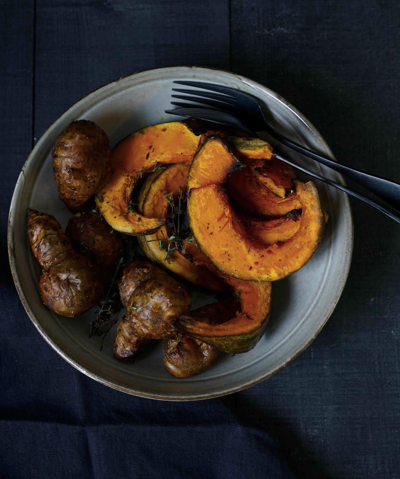 légumes cuits au four , topinambours , potimarron , cuisine facile