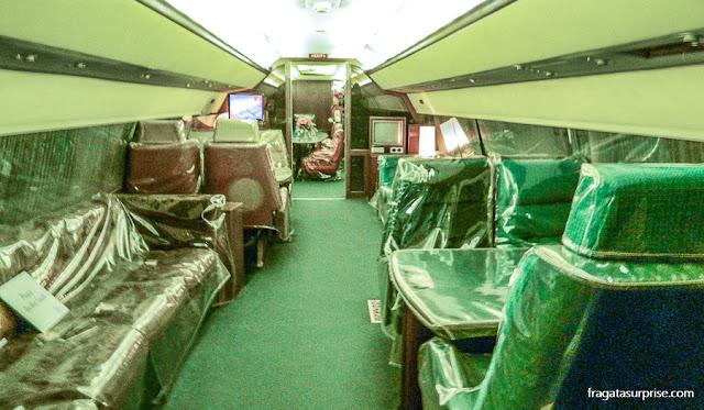 Interior do avião Lisa Marie, que pertenceu a Elvis Presley