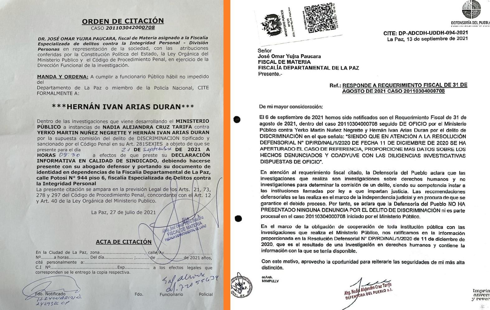 La notificación de la Fiscalía y la aclaración de la Defensoría que le contradice / RRSS