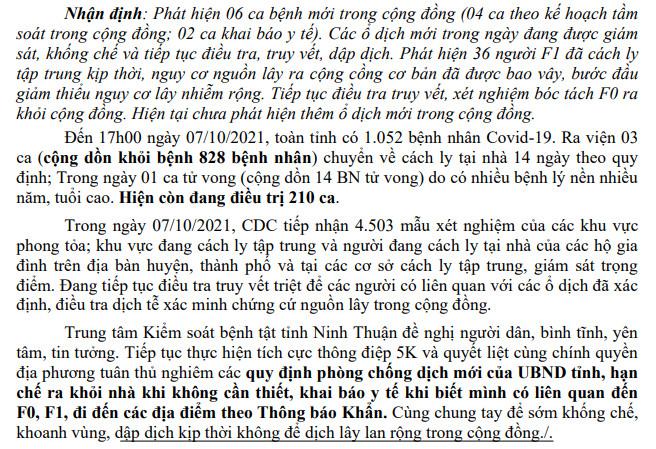 Ngày 7-10, Ninh Thuận ghi nhận 11 ca mắc Covid-19 mới