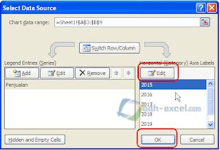 Setting data grafik Pie Excel