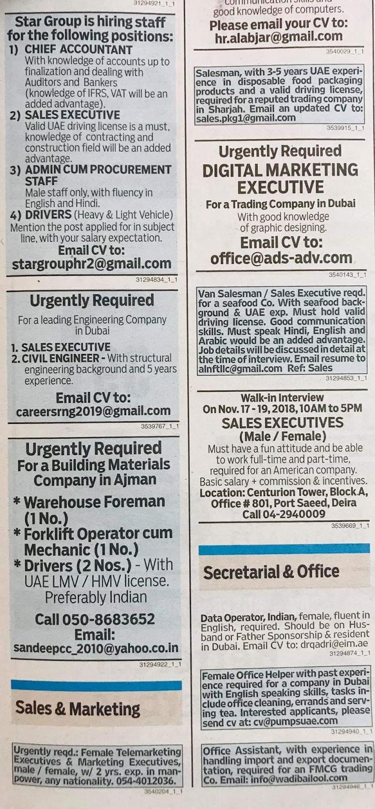 JOBS In UAE Local Hiring Khaleej Times-UAE-1811923- Jobs in