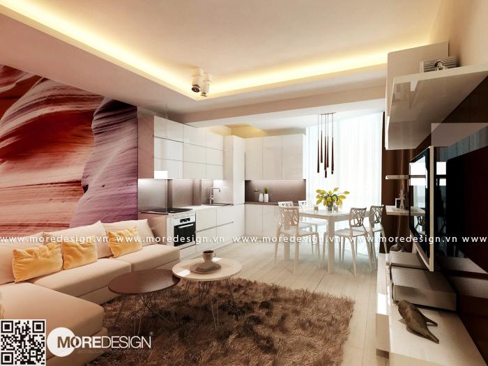Nội thất phòng khách hiện đại đẹp và sang trọng cho căn hộ chung cư