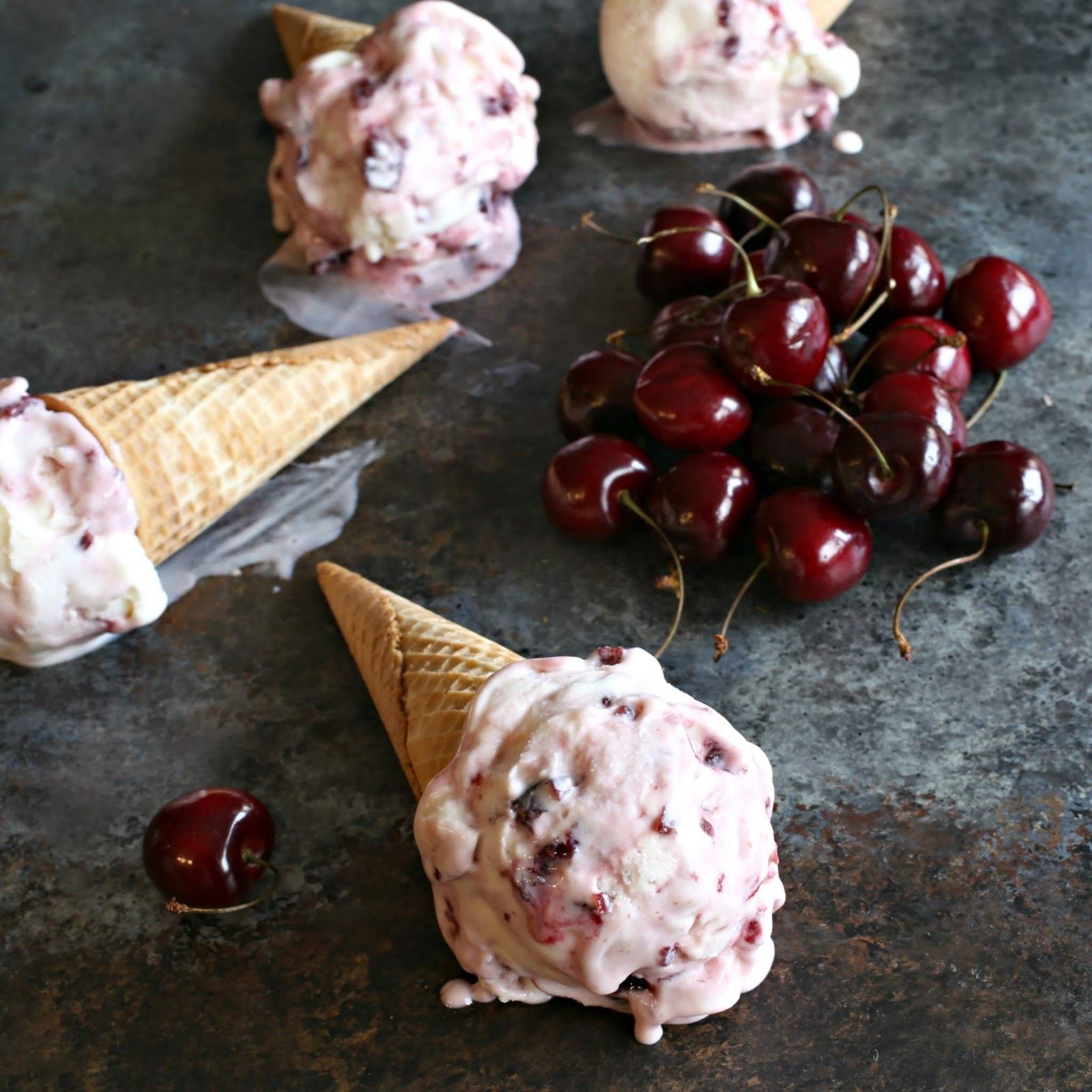 Ice cream made with milk, cream and yogurt cheese, swirled with a cherry compote.