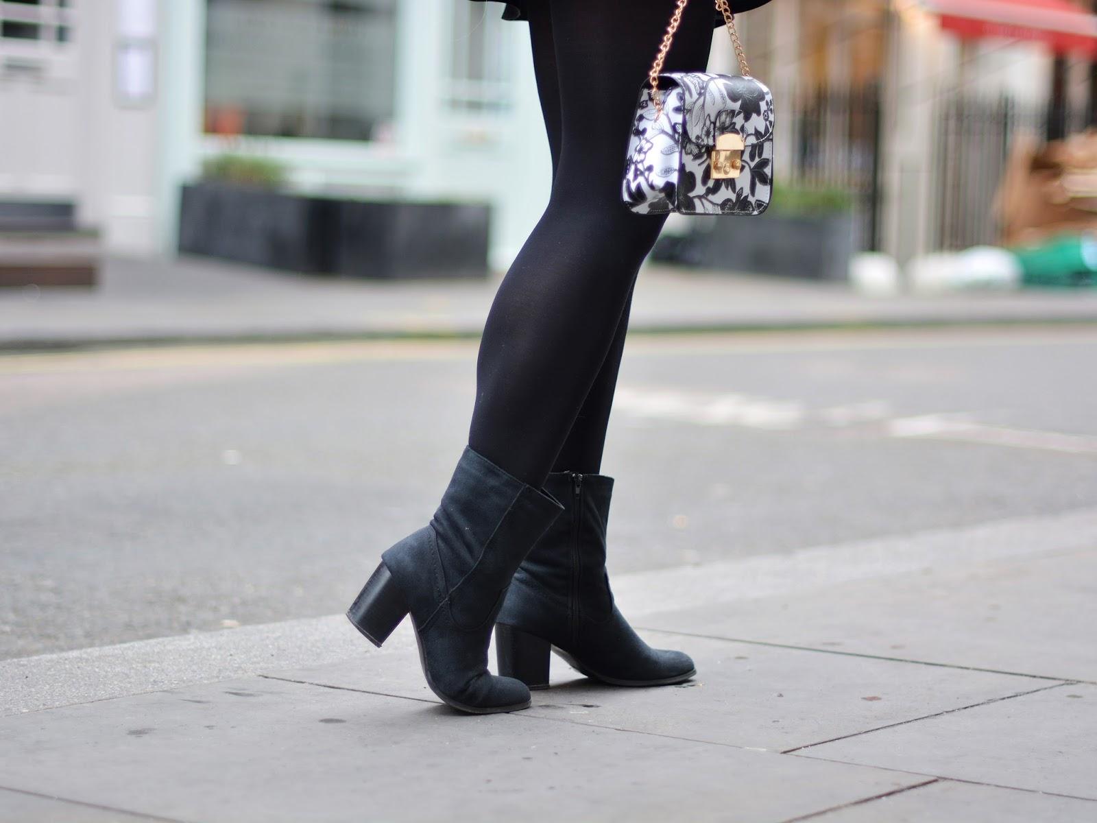 czarne botki stylizacja