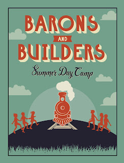 """Graphic of a steam locomotive with silhouettes of children on either side. Text reads """"Barons and Builders Summer Day Camp"""""""