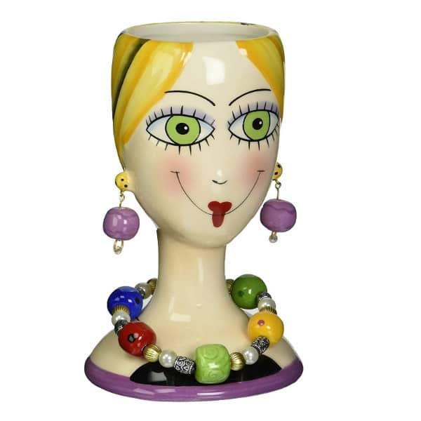 brightly colored vase lady head with bauble earrings and necklace