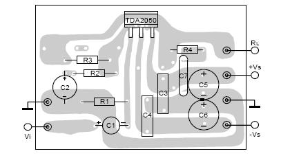 tda 2050 amplifier pcb design :-