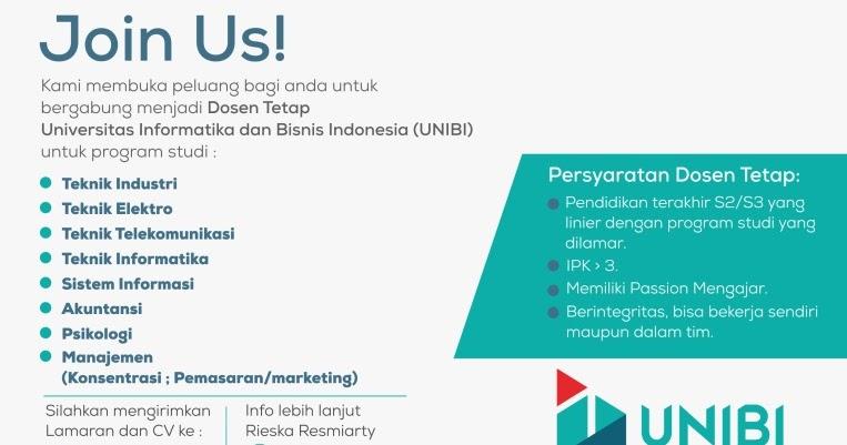 Lowongan Kerja Dosen Tetap Di Universitas Informatika Dan Bisnis Indonesia Unibi Pak Pandani