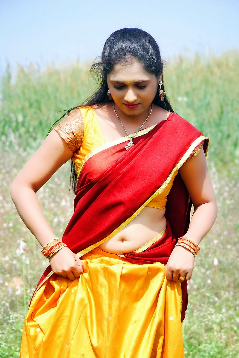 Geetha Pallavi Hot Navel In Red Half Saree South Actress -5302