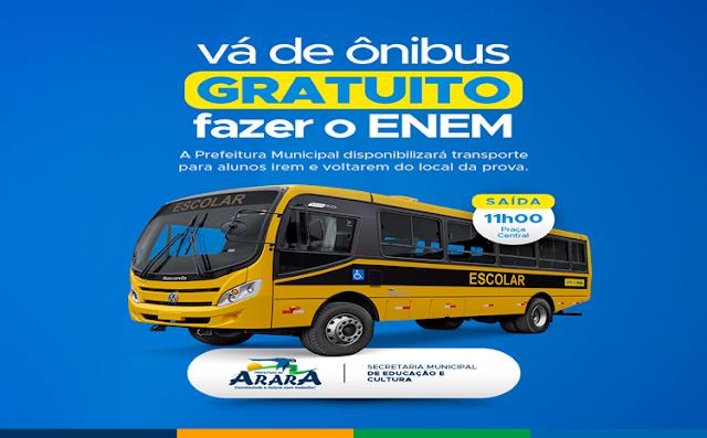 Prefeitura disponibilizará transporte para quem irá fazer o ENEM