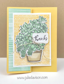 Stampin' Up! Simply Succulents Z Fold Thanks Card + Online Class Video ~ Hand Penned Designer Paper ~ www.juliedavison.com #stampinup