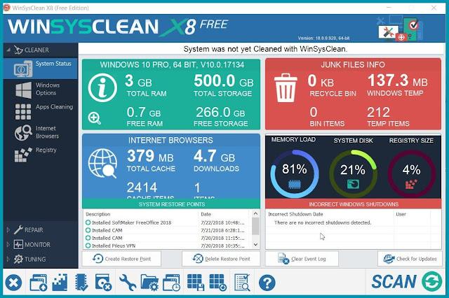 WinSysClean:  Mεγιστοποιήστε την απόδοση του υπολογιστή σας με 1 κλικ