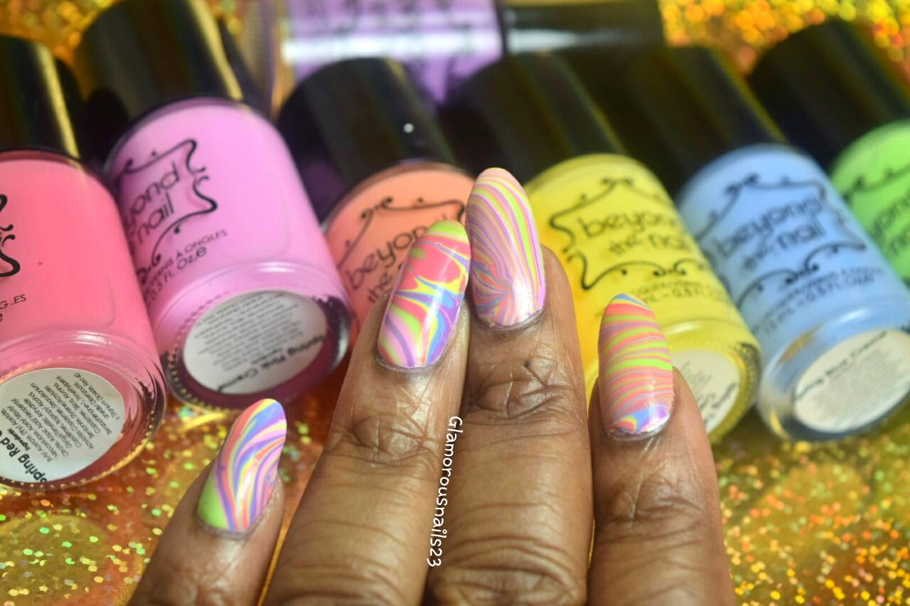 Easter/Spring Watermarble Using Beyond The Nail Spring 2015 Collection