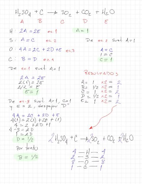 H2SO4 + C → SO2 + CO2 + H2O