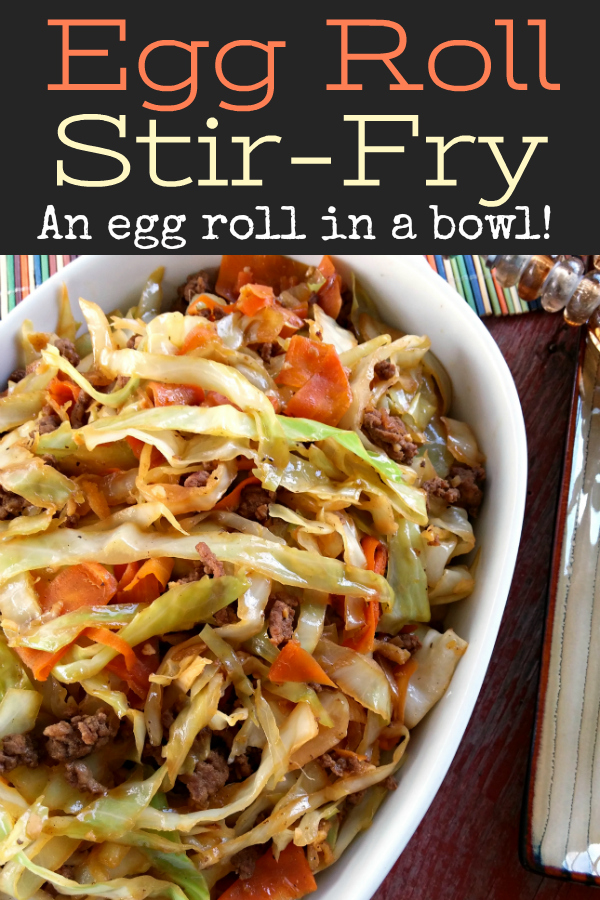 Egg Roll Stir-Fry! A stir-fry recipe with cabbage and all the flavor of an egg roll without the wrapper! Like an unstuffed egg roll in a bowl!