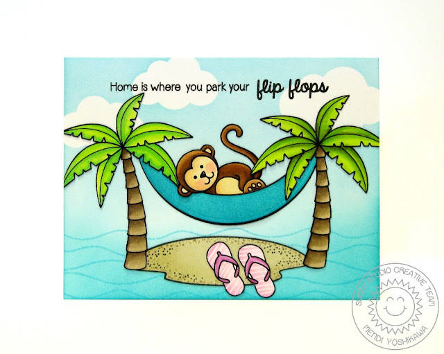 Sunny Studio: Island Getaway Hammock Card by Mendi Yoshikawa (with Monkey from Comfy Creatures & Cloud from Sunny Sentiments)