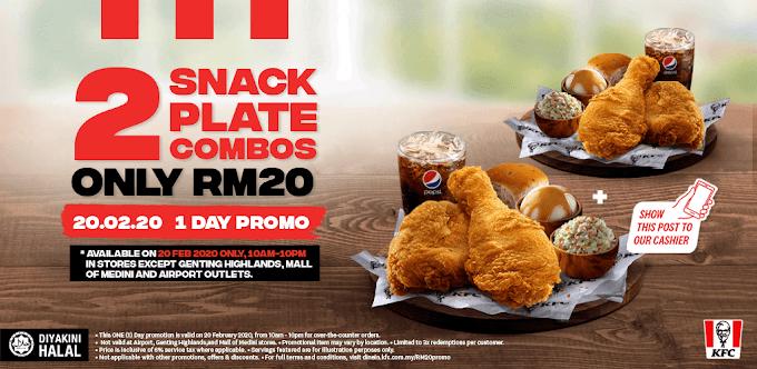 Promosi KFC 2020 2 Snack Plate Combo Harga RM20 Sahaja!