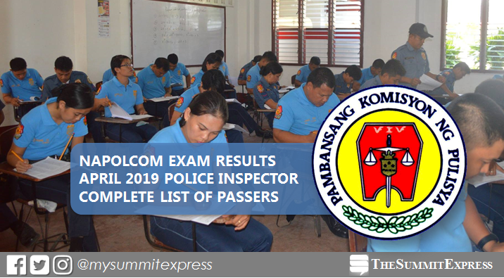 LIST OF PASSERS: April 2019 NAPOLCOM Exam result for Police Inspector