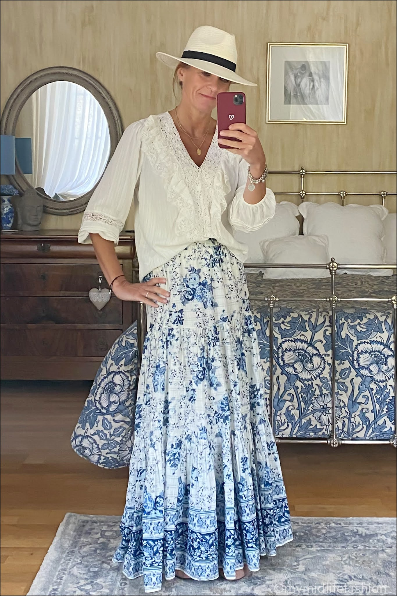 my midlife fashion, Zara floral tiered maxi skirt, Zara Panama hat, Zara lace blouse, h and m pointed cut out ballet flats