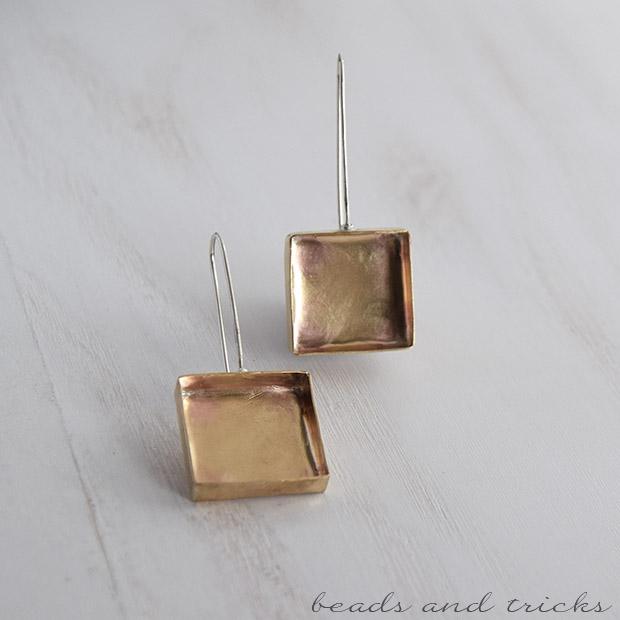 Orecchini in ottone e argento a scatola