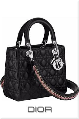 ♦Dior Lady Dior iconic black lambskin mini top handle bag with beautiful embroidered shoulder strap and silver Dior charms #dior #bags #ladydior #brilliantluxury