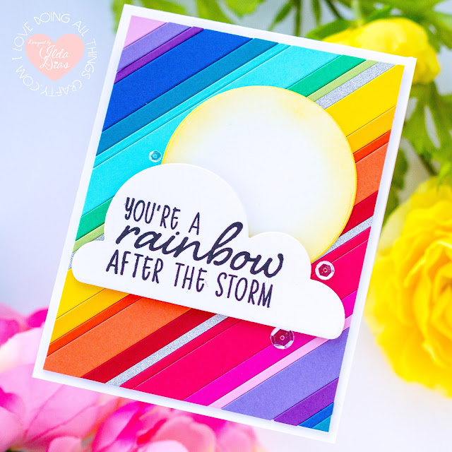 Happy Rainbow Friendship Cards, Instagram Hop, SLIM STRIPES Dies, CAPITAL B BEAUTIFUL Dies, Card Making, Stamping, Die Cutting, handmade card, ilovedoingallthingscrafty, Stamps, how to,