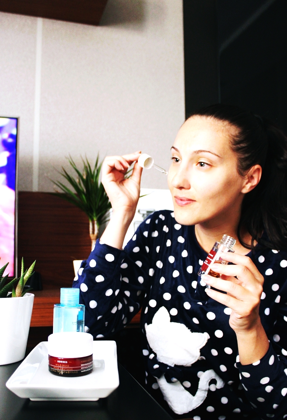 evening skincare routine for tired mom, Korres Wild Rose, glowy complexion products