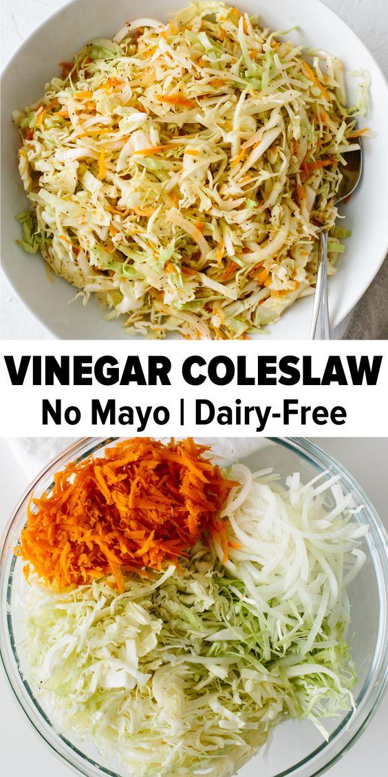 Vinegar Coleslaw (No Mayo Coleslaw Recipe)