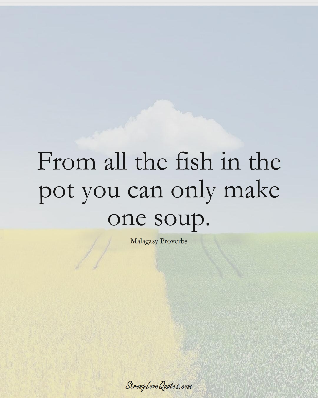 From all the fish in the pot you can only make one soup. (Malagasy Sayings);  #AfricanSayings