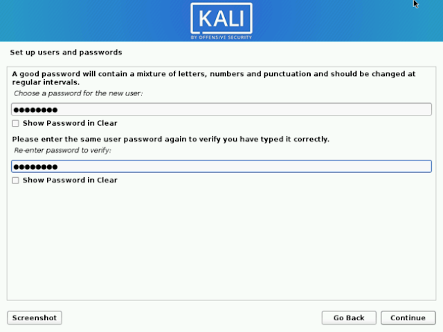 Isi Password Kali Linux