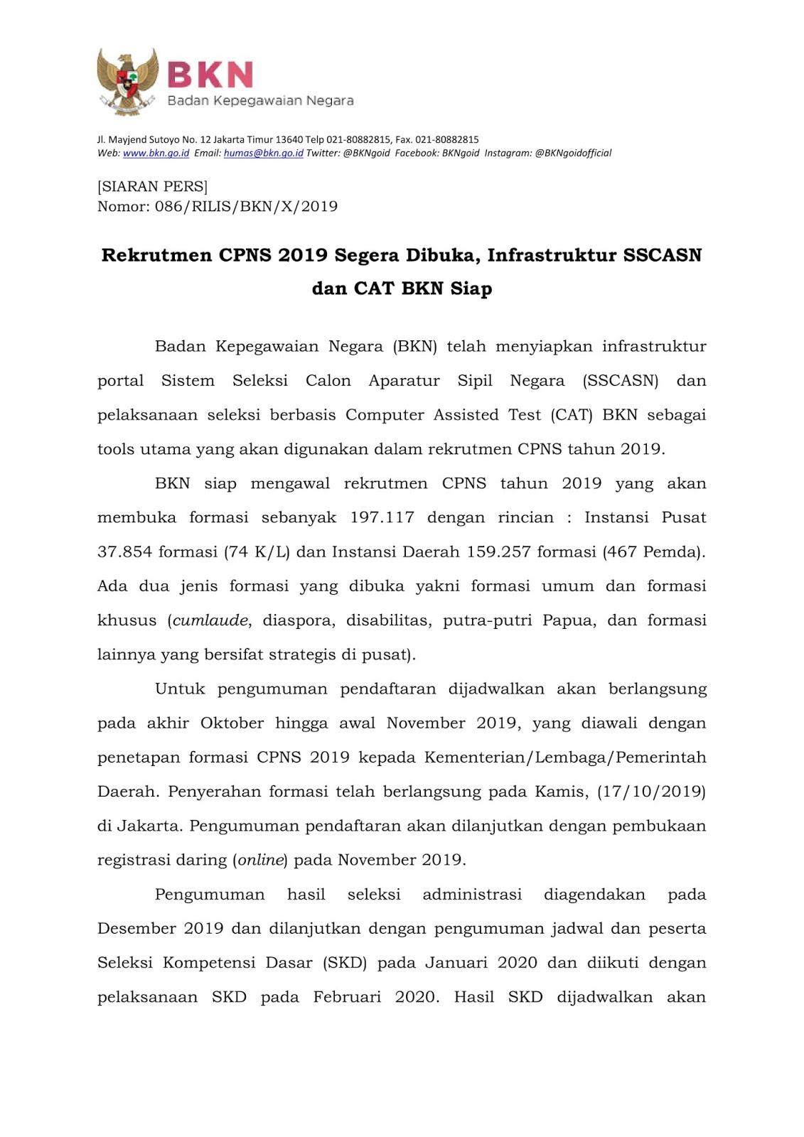 Rekrutmen CPNS Tahun  Segera Dibuka Lagi, Infrastruktur SSCASN dan CAT BKN Siap [Info Jadwal dan Alur CPNS ]