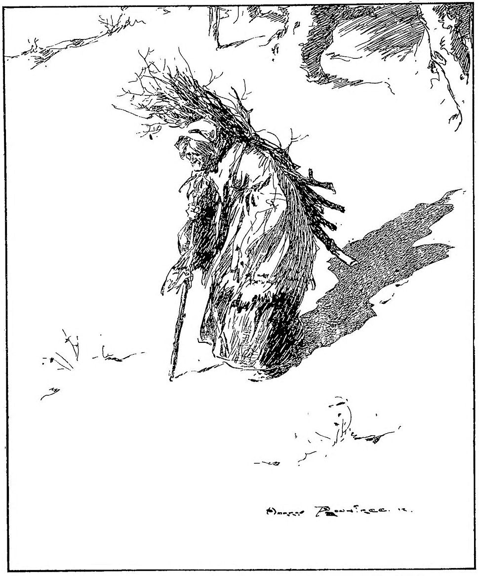 a Harry Rountree illustration of an old woman carrying firewood, seen from a birdseye view with foreshortening