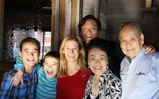 Polly Tsai with her husband Ming Tsai parents & their children
