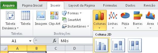 Como usar um agráfico de colunas simples na planilha do Excel em 2D