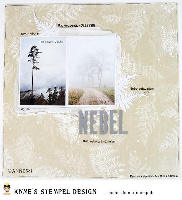 Ein gestaltetes Scrapbookinglayout mit Nebelfotos