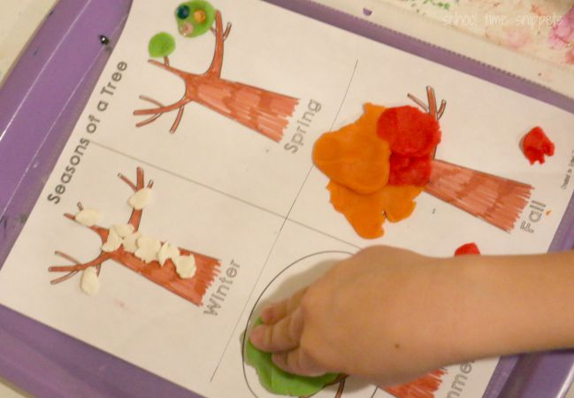 seasons worksheet with play dough